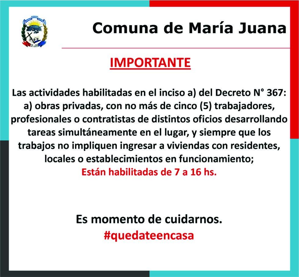 Nuevas actividades habilitadas desde el 04 de mayo en María Juana